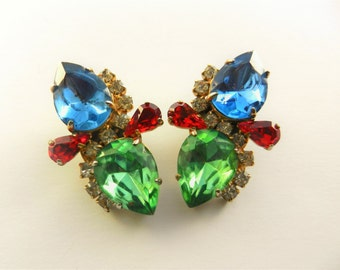 Fabulous & colored vintage clip on earrings-60's bold sapphire, peridot,ruby and clear chatons - showy design with large sparks - Art.697/4