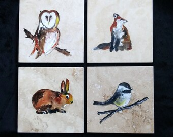 Natural stone coaster. Animal Coasters. Set of Four Coasters. Wedding gift Christmas gift, Home Decor