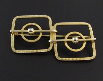 Modernist Brooch, Square Brooch, Geometric Brooch, Cube Brooch, Gold Brooch, Wire Work Brooch