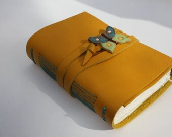 Butterfly - Leather Journal or Leather Notebook Blank Book - Handmade