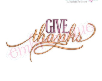 Give Thanks Elegant Thanksgiving Fall Embroidery Design - Instant Download Machine embroidery design
