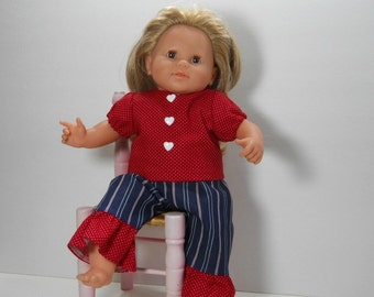 15 inch doll clothes, 14 inch Corolle baby doll, 2 Piece Play Set, Red Dot Top with Denim Striped Pants with Ruffle, 01-1803