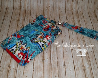 Wonder Woman, Bat Girl, Super Girl & Red Wallet Clutch with 8 Credit Card Slots, 1 Zipper pouch, and 2 Slots for Money