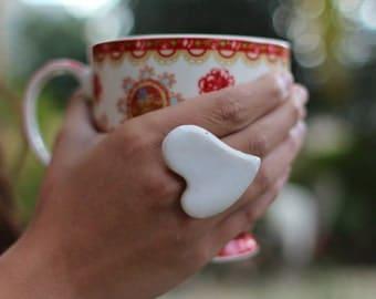 White heart ring Ceramic jewelry Heart ring Ceramic ring White ring
