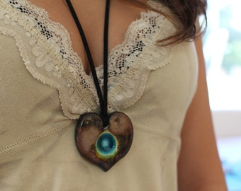 Statement Necklace Heart pendant Adjustable necklace Long necklace Ceramic Pendant Ceramic Jewelry