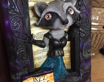 "Fairy Tale Art, OOAK Anthropomorphic Art Doll, Whimsical 1920s Gatsby-style Dancing Raccoon ""Jazz Hands""  Framed Wall Art Diorama Shadow Box"