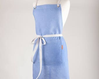 Linen Apron, Handmade Full Apron. 100% medium weight Linen. WISTERIA color.