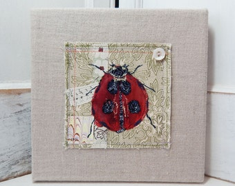 Lady Bug  - original fabric collage