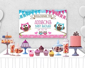 "Vinyl Welcome Baby Shower Banner, 36""x20"", 48""x30"", Pink and Blue Baby Owls, Hearts, Baby Gender Reveal Party, Baby Shower Table Backdrop"
