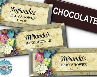 12 Candy Bar Wrappers, Party Favors, Watercolor Florals, Flowers, Wedding, Bridal Shower, Baby Shower, Quinceanera, Birthday Party