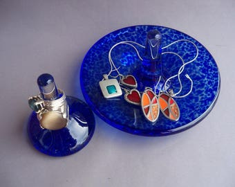Hand Blown Art Glass Jewelry Tray and Ring Holder -Set of 2, Cobalt Blue Color.
