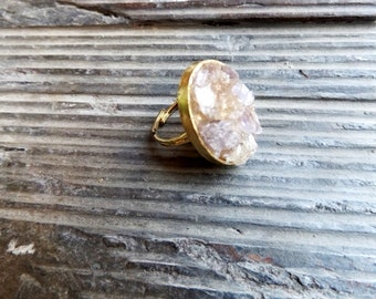 crushed amethyst and citrine gemstone ring//amethyst ring//citrine ring//citrine//amethyst//ring//statement ring//jewelry