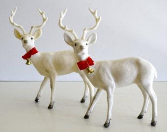 Vintage Flocked Deer Bucks Set of Two White Vintage Christmas Decor