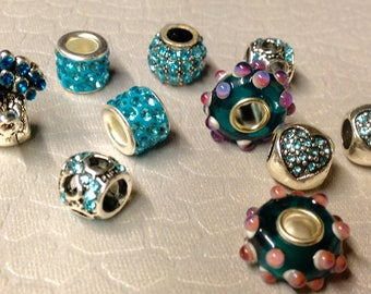 European style Turquoise colored Rhinestone Bling beads + other large holed beads lot 3 of TEN Mix and Match add to bracelet (NOT INCLUDED)