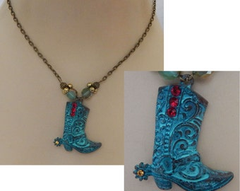 Gold & Green Cowboy Boot Pendant Necklace Handmade Adjustable NEW Accessories Western