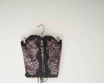 Vintage Pink and Lace Bustier Corset by Victoria's Secret Small