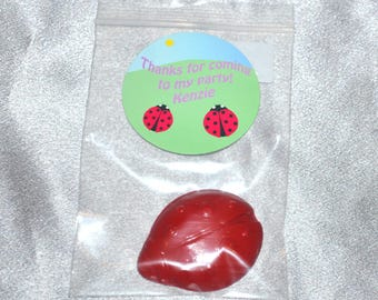 Ladybug Crayons And Ladybug Stickers, Party Set For 20 Kids, 20 Ladybugs Crayons And 20 Ladybug Stickers.  Kids Party Favors, Crayons.