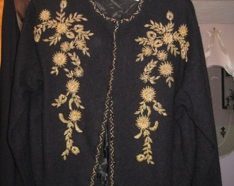 Black Cashmere/Gold Beaded 50's Cardigan/Evening Cardigan/Wrap