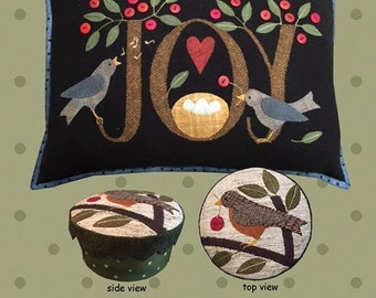 Joy Bird Nest Pillow and Box Project Wool Quilt Pattern All Through the Night