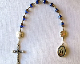 Single Decade Rosary in Blue and Silver with Full Color Miraculous Medal