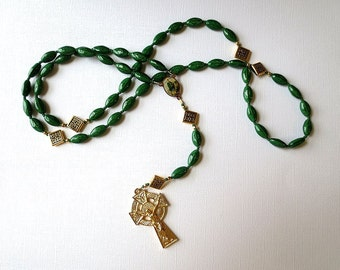 Green Irish Themed Rosary of Celtic Cross Beads with Saint Patrick/ Saint Brigid Center and Celtic Crucifix
