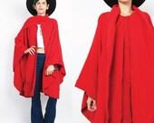 Black Friday SALE Vintage Wool Cape Bright Red Wool Poncho Alpaca Wool Winter Coat Built in Scarf Outerwear Draped Cloak Jacket Fringe Plus