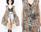 25% OFF Sale Vintage Duster Vest 90s Abstract Print Long Vest Brown Vest Sleeveless Maxi Vest Leaf Print Hippie Boho Layering Top Plus Size