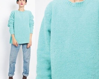 35% OFF SALE 1990s Soft Chenille Sweater Fuzzy Aqua Turquoise Sweater Bright Blue Neon Sweater Grunge Pullover Oversize Womens Knit Winter J