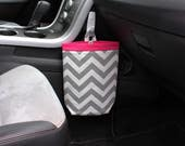 50% Off - Ready To Ship, Full-size Loop Handle Car Trash Bag CHEVRON GRAY, Hot Pink Band with Standard Lining, Auto Accessories