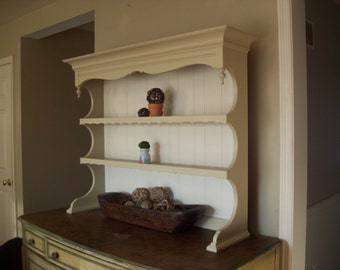 Hutch Top Book Shelf China Cabinet Restored in Sand and White Paint