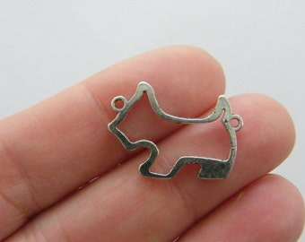10 Dog charms  antique silver tone D65