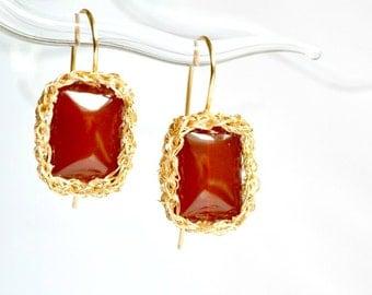 Carneol crochet earrings, red and gold earrings, carneol red
