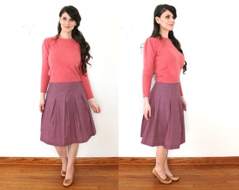 60s Raspberry Mauve Pink Skirt / 1960s High Waist Pleated Skirt