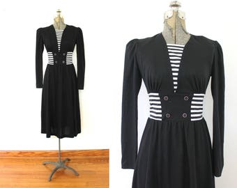 Vintage Black and White Dress / 70s Does 40s Black Nautical Dress
