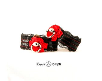 BDSM Submissive Black Lace Black Leather Red Stain Rose Cuffs - Fancy Fetish Romantic Bracelets - BDSM Kitten Play Wrist Cuffs Mistress Play