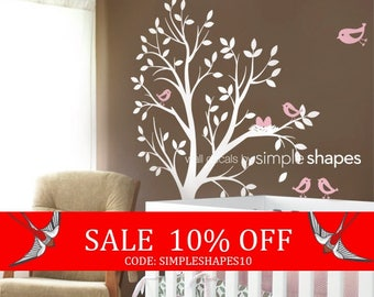 Sale - Kids Wall Decal - THE ORIGINAL Tree with Birds and Nest