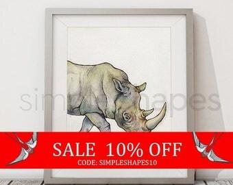 Sale - Rhino Art Watercolor Painting Print African Safari Nursery Wall Art Rhinoceros Watercoloring Boys Room Girls Room Animal Painting ...
