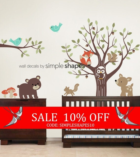 Sale - Tree with Forest Friends Decal Set - Kid's Nursery Room Wall Sticker