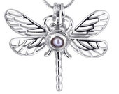 Dragonfly Locket - Pearl cage - pendants - Silver Plated - for gemstone- birthstone - oyster pearl cage