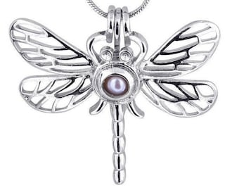 wholesale - 3pcs - Dragonfly Locket - Pearl cage - pendants - Silver Plated - for gemstones - birthstones - pearl cage