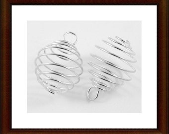 10pcs - Bright - silver plated - swirl cage - Large - spriral - bead cage  with loop - pendant - gemstone cage