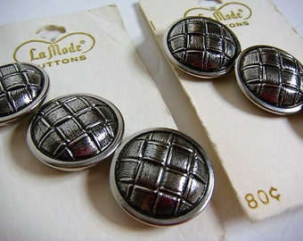 6 Silver Metal Buttons Woven Design Buttons Silver Buttons La Mode 7/8 inch carded buttons