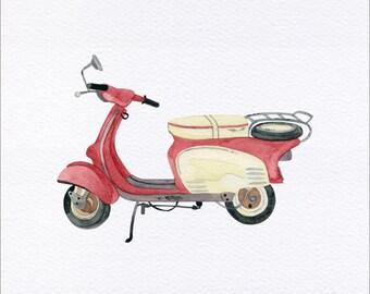 Vintage Scooter Unframed Watercolor Art Print