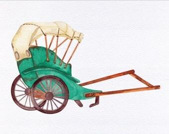 Rickshaw Unframed Watercolor Art Print