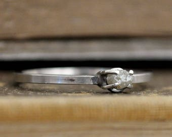 sterling silver rough heart diamond ring Tiny Stack Diamond Ring, rough stone diamond ring, handmade diamond ring,