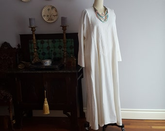 1970's, muslin white on white, hand embroidered caftan, by Carnaby Street