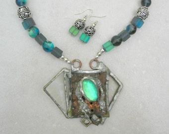 The Lady of Shalott, Tennyson's Arthurian Poem, Glass/Copper/Silver Pendant, AB Quartz & Moonstone Beads, Necklace Set by SandraDesigns