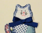Cat birthday card, blank thank you note, greeting card, vintage cutter quilt, hand stitched, blue kitty, get well paper goods, stationery