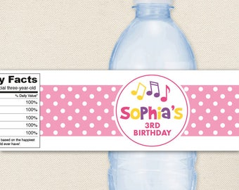 Pink Music Party - 100% waterproof personalized water bottle labels