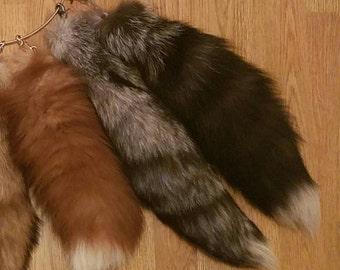 Silver / Indigo / Cinnamon Russian Fox Fur Tail Keychain XL